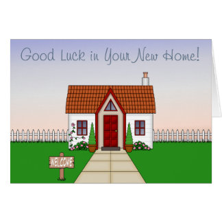 Cute, Whisical Cartoon Cottage - New Home Card