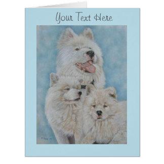 Cute white akita long coat realist portrait art large greeting card