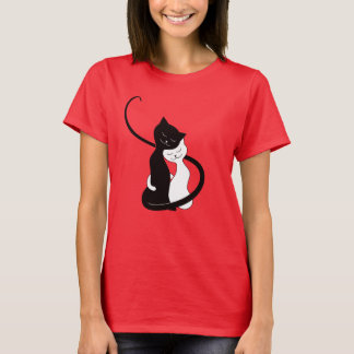 Cute White And Black Cats In Love T-Shirt