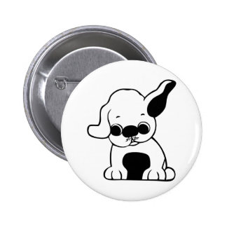 Cute White and Black Puppy Dog Cartoon w/ Big Ears Button