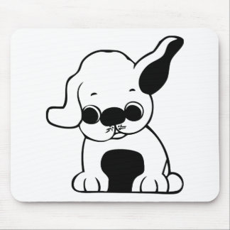 Cute White and Black Puppy Dog Cartoon w/ Big Ears Mouse Pad