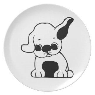Cute White and Black Puppy Dog Cartoon w/ Big Ears Dinner Plates