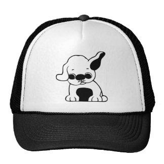 Cute White and Black Puppy Dog Cartoon w/ Big Ears Trucker Hat