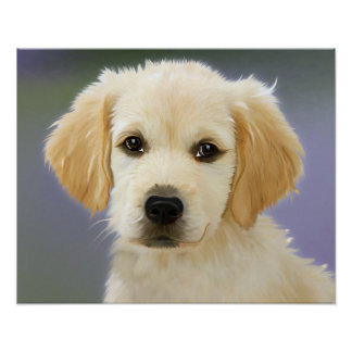 Cute White and Cream Colored Puppy Poster