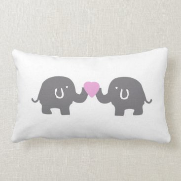 Valentines Themed Cute White And Grey Elephants With Pink Heart Lumbar Pillow