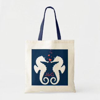 Cute White And Navy Blue Seahorses Tote Bag