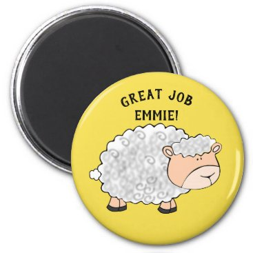 Aztec Themed Cute White and Pink Sheep on Yellow Schoolwork Magnet