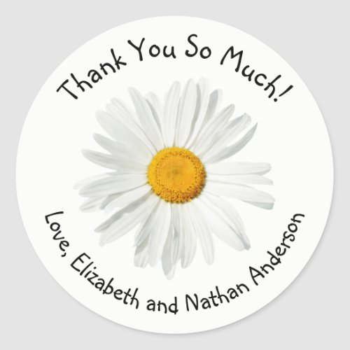 Cute White and Yellow Daisy Thank You Personalized Classic Round Sticker