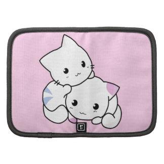 Cute white animated kittens folio planner