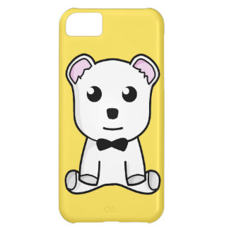 Cute white animated teddy bear case for iPhone 5C
