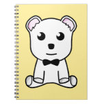 Cute white animated teddy bear journals