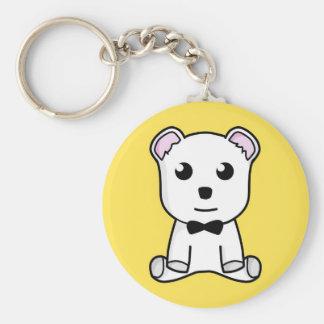 Cute white animated teddy bear keychain