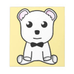 Cute white animated teddy bear memo pads