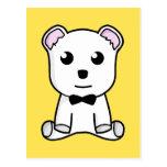 Cute white animated teddy bear post cards