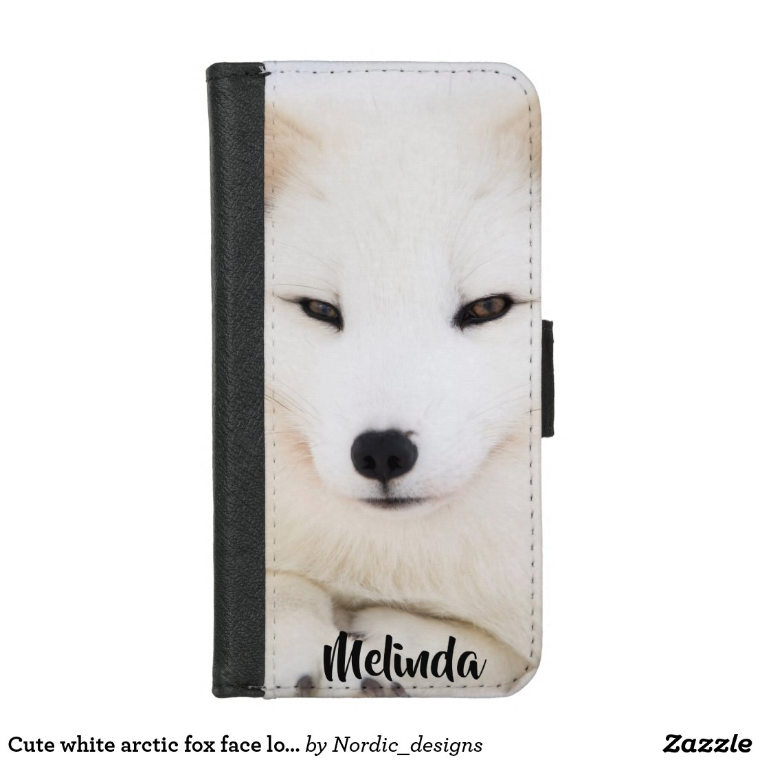 Cute white arctic fox face looking at you iPhone 8/7 wallet case
