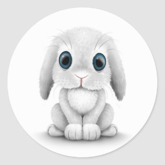 Cute White Baby Bunny Rabbit Classic Round Sticker