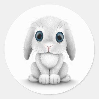 Cute White Baby Bunny Rabbit Classic Round Sticker