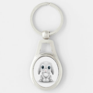 Cute White Baby Bunny Rabbit Keychain