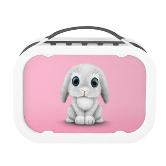 Cute White Baby Bunny Rabbit on Pink Lunch Box