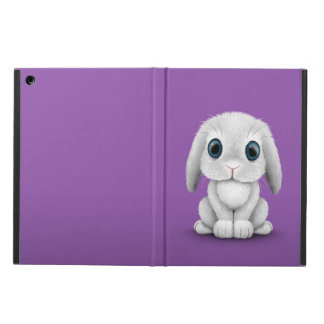 Cute White Baby Bunny Rabbit on Purple Cover For iPad Air