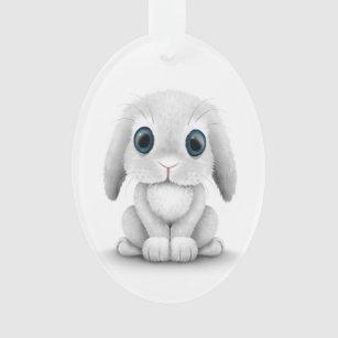 Cute White Baby Bunny Rabbit Ornament