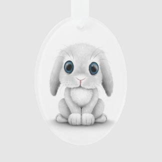 Cute White Baby Bunny Rabbit Ornament
