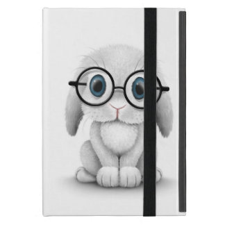 Cute White Baby Bunny Wearing Glasses Case For iPad Mini