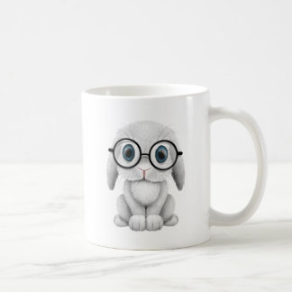 Cute White Baby Bunny Wearing Glasses Coffee Mug