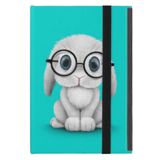 Cute White Baby Bunny Wearing Glasses on Blue iPad Mini Covers
