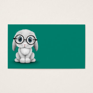 Cute White Baby Bunny Wearing Glasses on Green Business Card