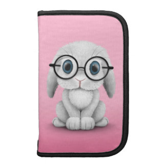 Cute White Baby Bunny Wearing Glasses on Pink Planner