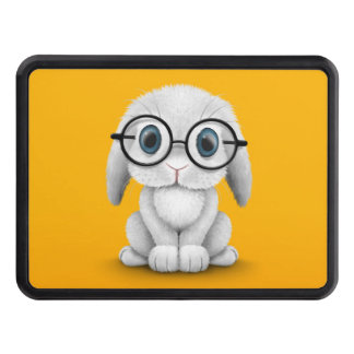 Cute White Baby Bunny Wearing Glasses on Yellow Trailer Hitch Cover