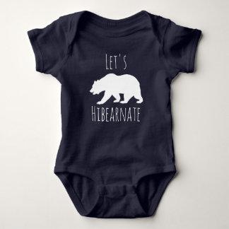 """Cute White Bear """"Let's Hibearnate"""" Baby Bodysuit"""