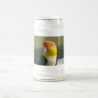 Cute White Bellied Caique Parrot Beer Stein