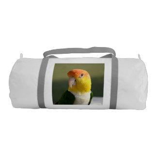 Cute White Bellied Caique Parrot Gym Duffel Bag