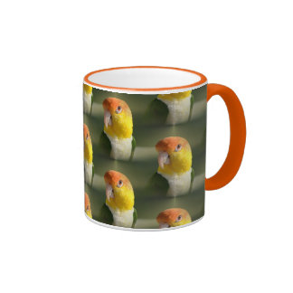 Cute White Bellied Caique Parrot Ringer Coffee Mug