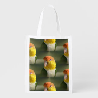 Cute White Bellied Caique Parrot Reusable Grocery Bags