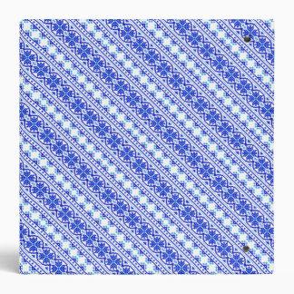 Cute white blue decorative ukrainian stripes 3 ring binder