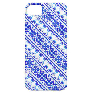 Cute white blue decorative ukrainian stripes iPhone SE/5/5s case