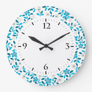 Cute white blue seamless spring flowers patterns large clock