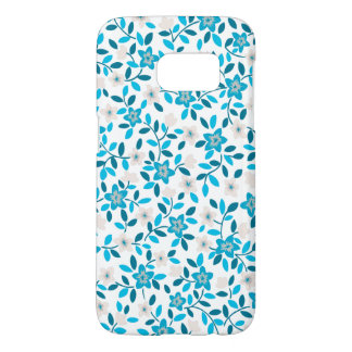 Cute white blue seamless spring flowers patterns samsung galaxy s7 case