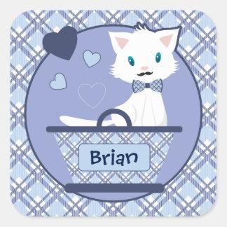 Cute white boy kitten in basket with hearts square sticker