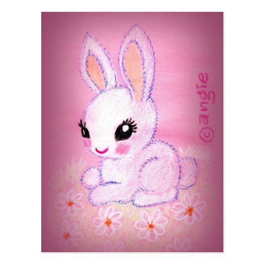 Cute White Bunny and Daisies Postcard