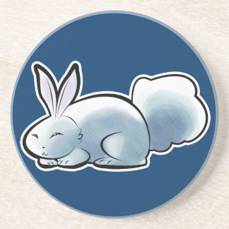 Cute White Bunny Beverage Coasters