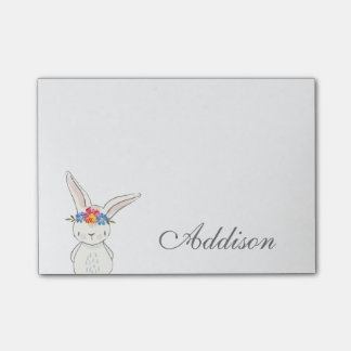 Cute White Bunny Flower Crown Post-it Notes