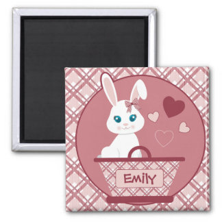Cute White Bunny in Pastel Pink Basket 2 Inch Square Magnet