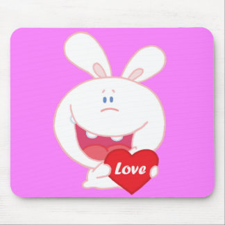 Cute White Bunny Mouse Pad