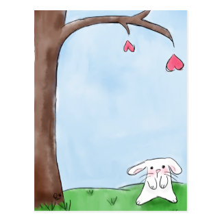 Cute white bunny postcard