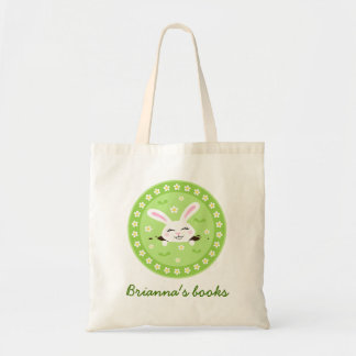 Cute, white bunny rabbit personalized library book budget tote bag
