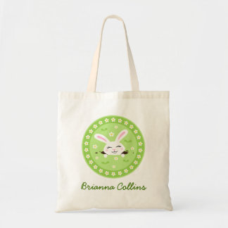Cute, white bunny rabbit personalized name tote bag